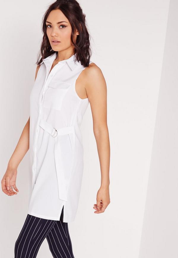 D-Ring Detail Sleeveless Shirt White