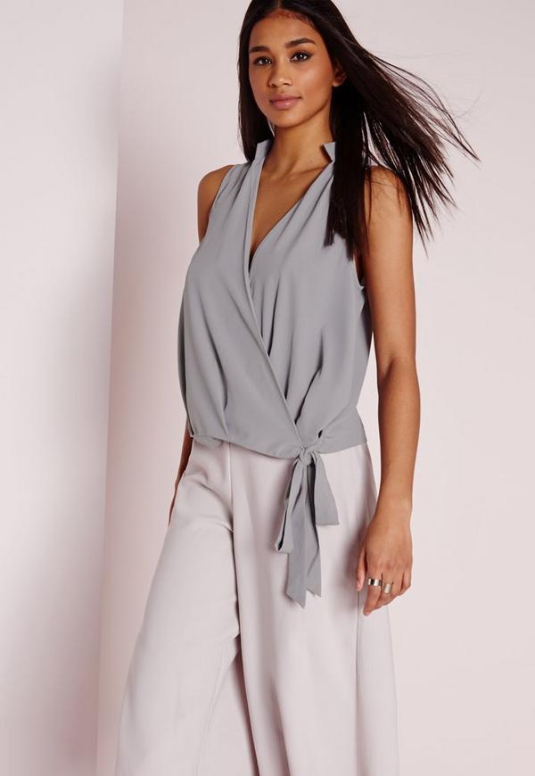 Wrap Hem Sleeveless Tie Blouse Grey