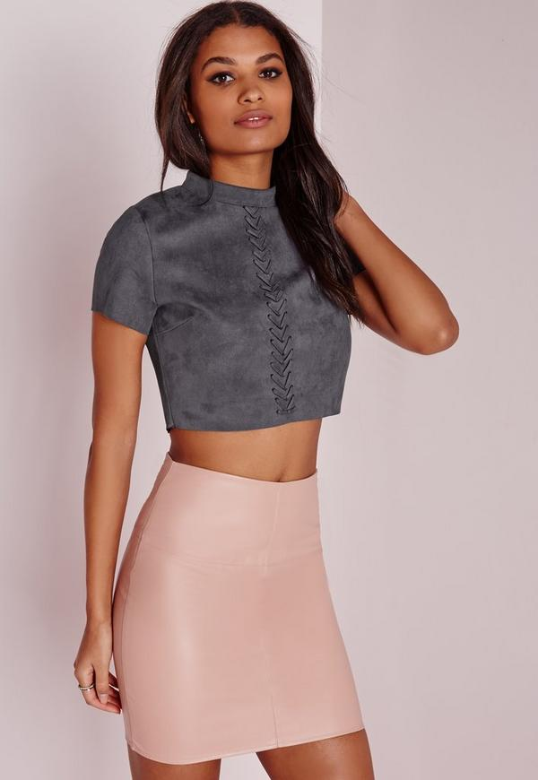 Stitch Front Faux Suede Crop Top Slate Grey