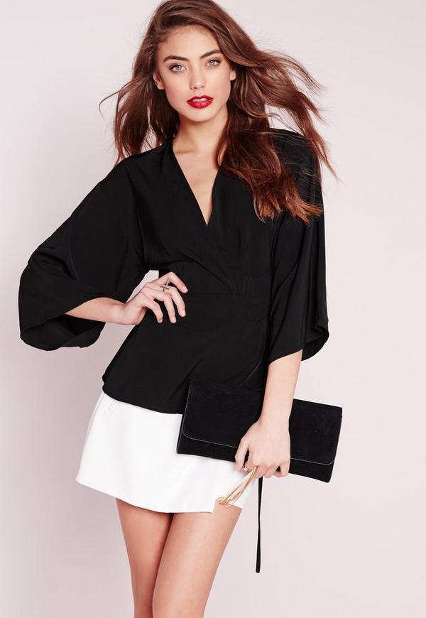 Silky Wrap Kimono Blouse Black