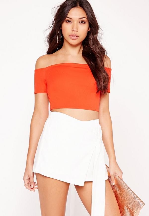 Bardot Crop Top Hot Orange