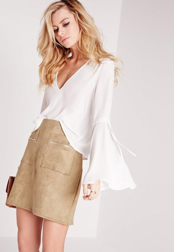 Tie Sleeve V Neck Blouse Ivory