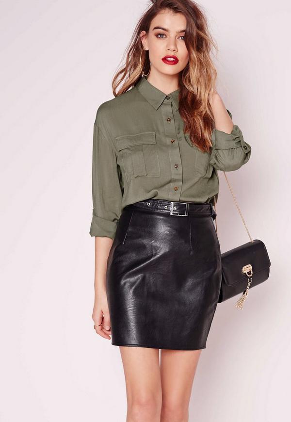 Pocket Detail Button Up Shirt Khaki