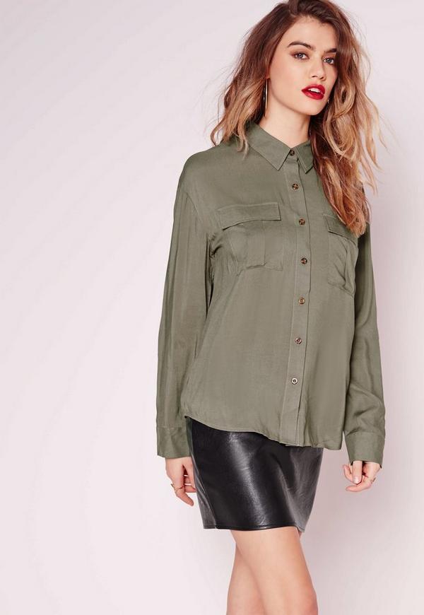 Pocket Detail Button Up Shirt Khaki Missguided Australia