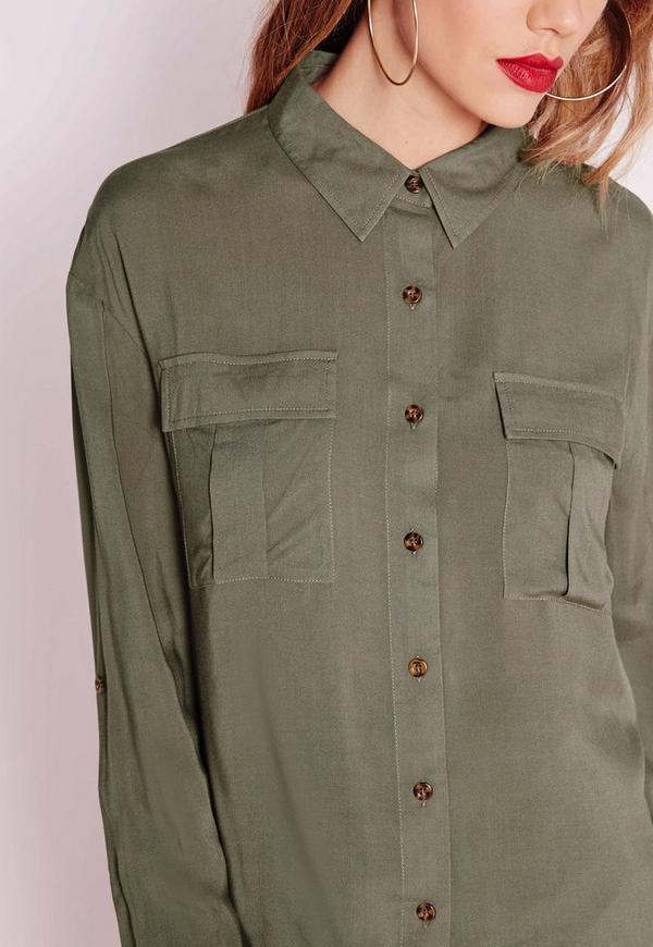Pocket Detail Button Up Shirt Khaki Missguided