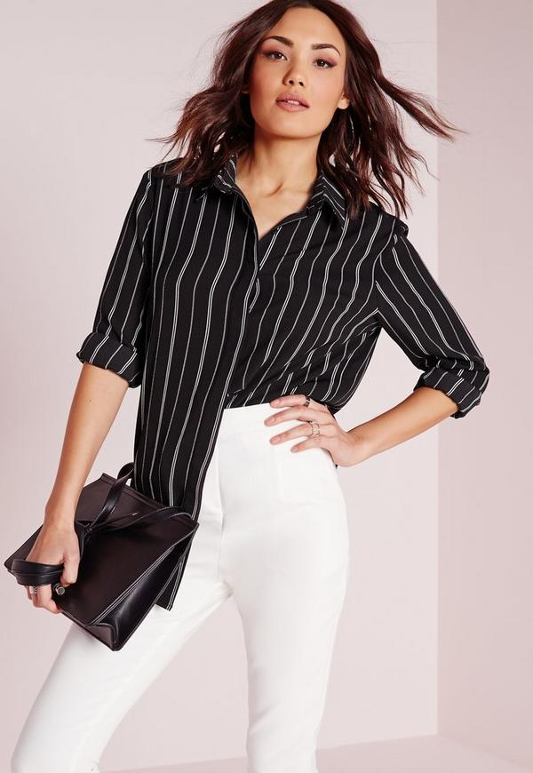 Crepe Stripe Blouse Monochrome