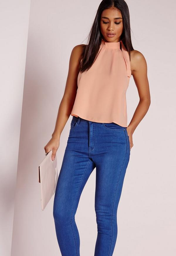 D Ring Neck Detail Cropped Blouse Peach