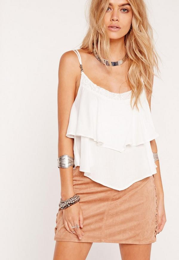 Frill Layered Detail Trim Crop Top White
