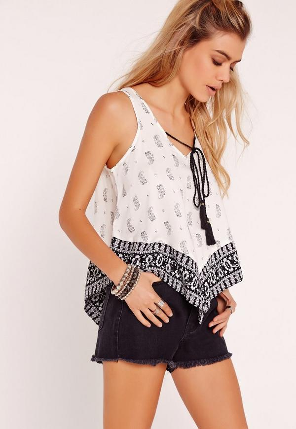 Paisley Tie Front Cami Top Monochrome