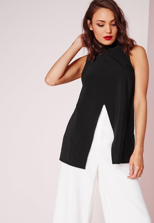 High Neck Asymmetric Detail Blouse Black