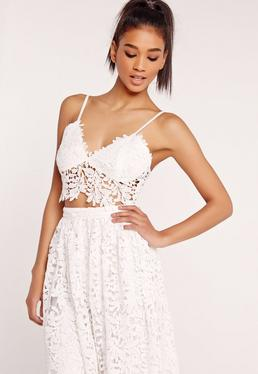 Crochet Lace Bust Cup Bralet White