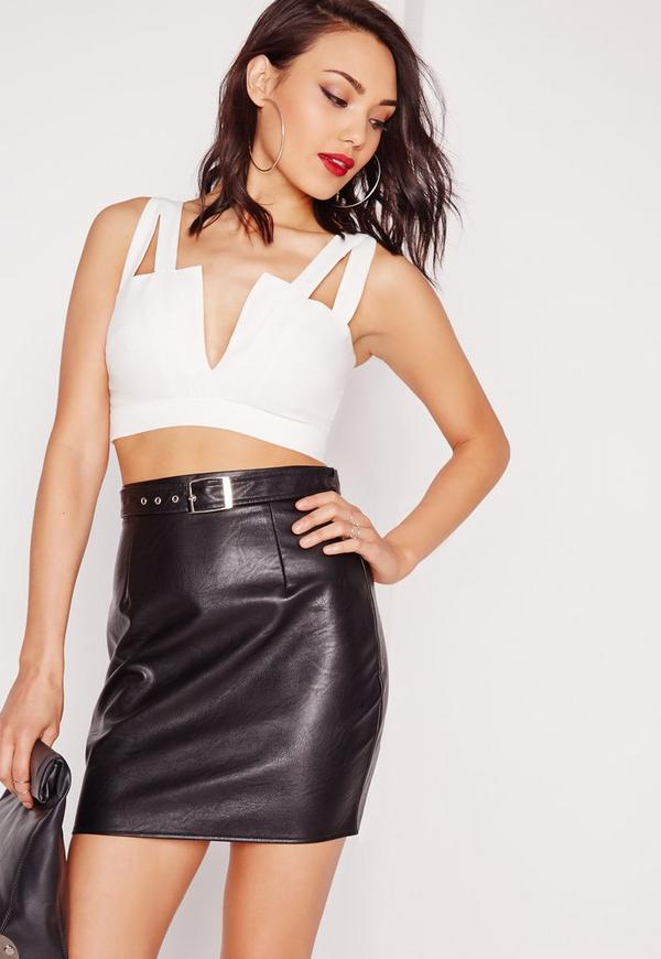 V Cut Out Crop Top White