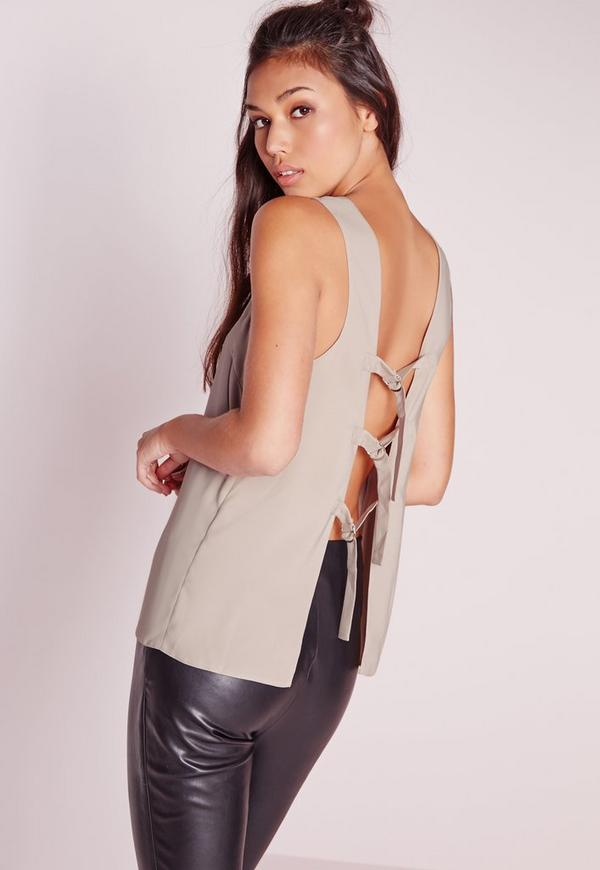 D Ring Open Back Sleeveless Blouse Grey