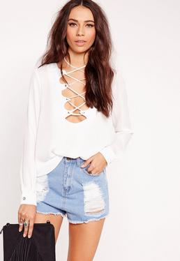 Scallop Lattice Blouse White