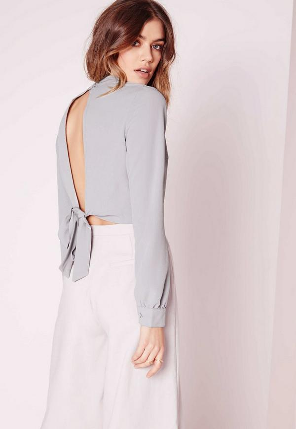 Tie Back Crop Top Grey
