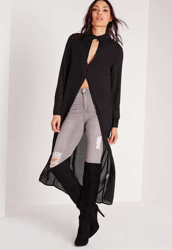 Sheer Maxi Scallop Detail Shirt Black