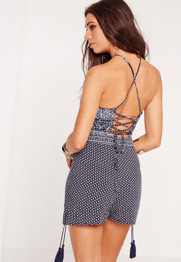 Printed Lace Up Back Crop Top Blue