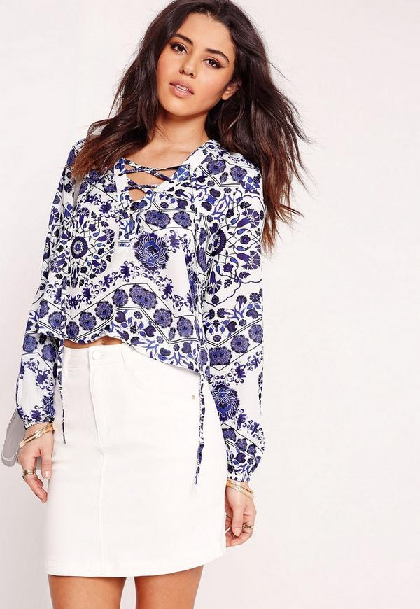 Paisley Lace Up Blouse White