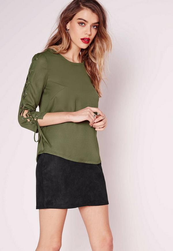 Lattice Sleeve Blouse Khaki
