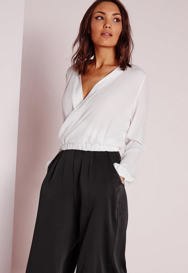 Cropped Wrap Blouse Ivory