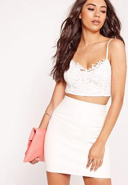 Lace Overlay Bralet White