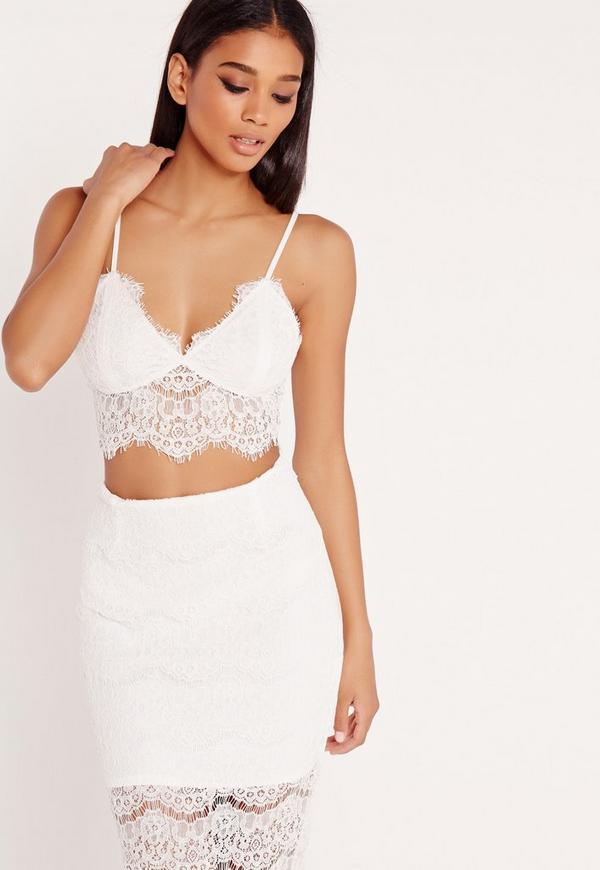 Corded Lace Bralet White