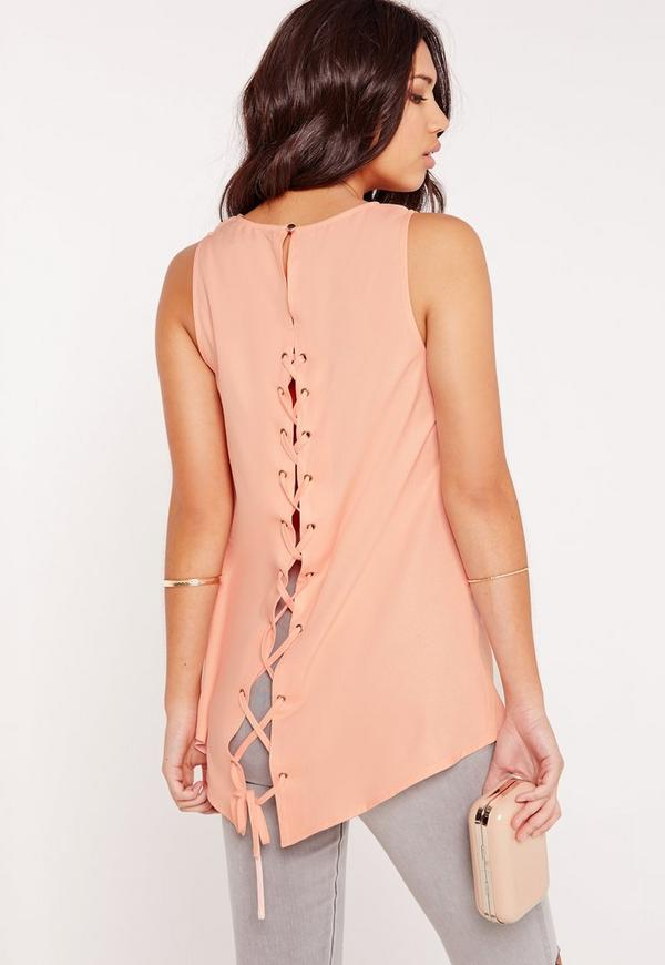 Longline Lattice Back Tunic Nude