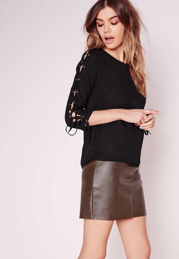Lattice Sleeve Blouse Black