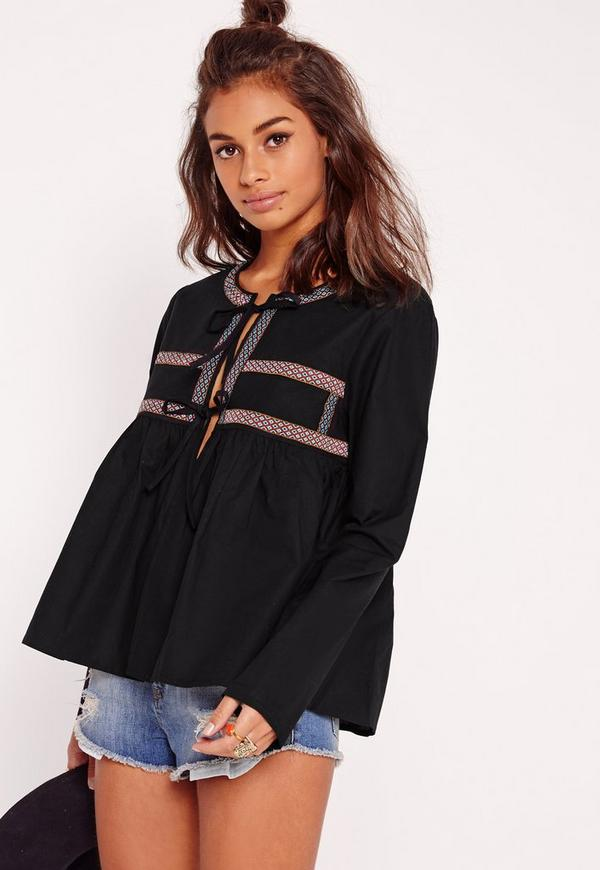 Embroidered Tie Blouse Black