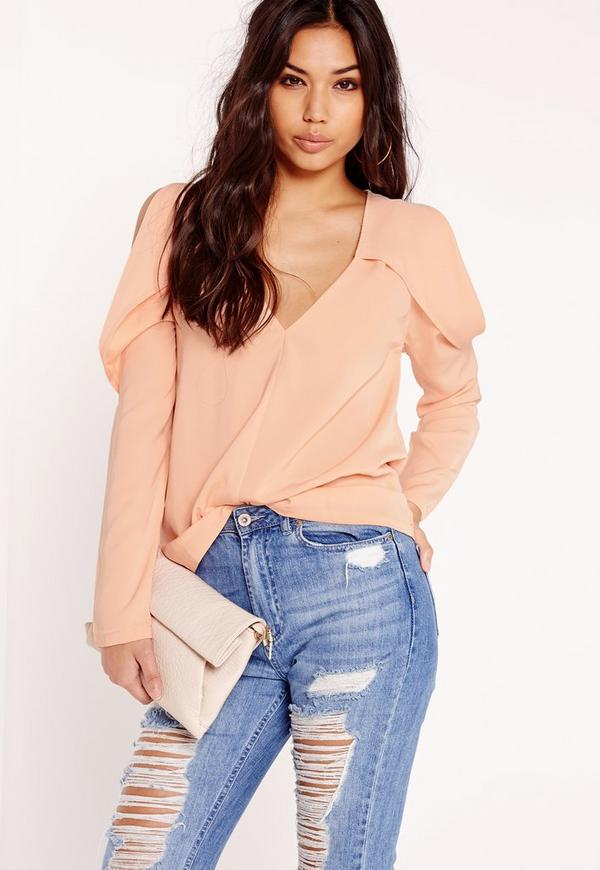 Deep V Folded Shoulder Detail Blouse Nude