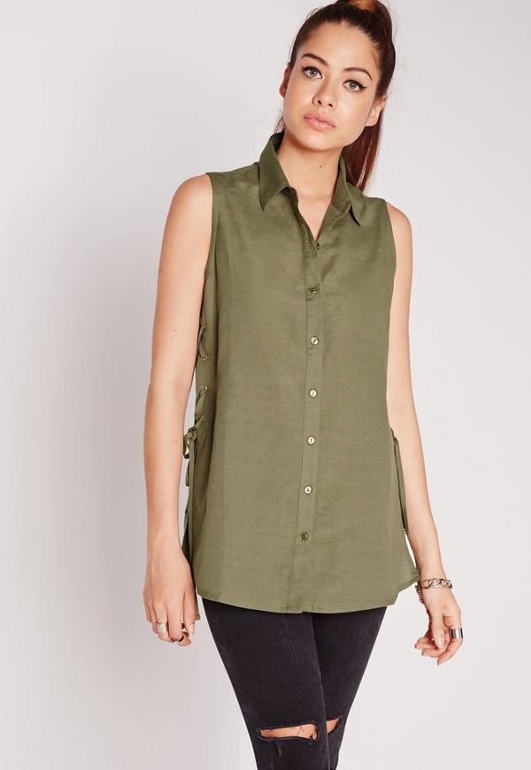 Lace Up Side Sleeveless Shirt Khaki