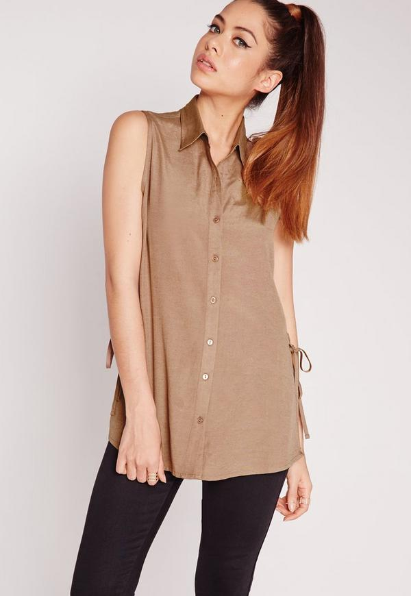 Lace Up Side Sleeveless Shirt Camel