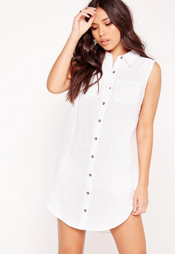Pocket Curve Hem Sleeveless Shirt White