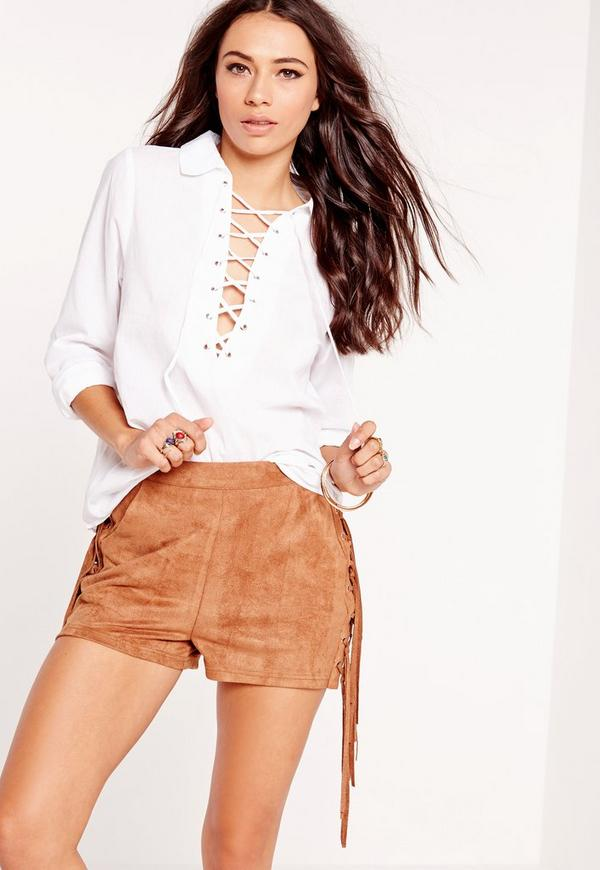 Chambray Lattice Shirt White