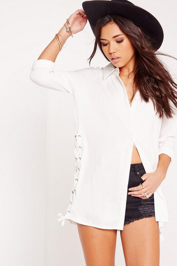 Lace Up Side Longline Shirt White