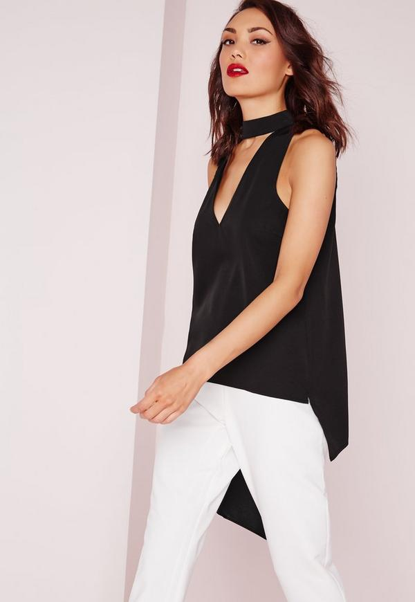 Cut Out Choker Cami Top Black