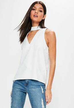 Camisole mit Choker-Ausschnitt in Weiß