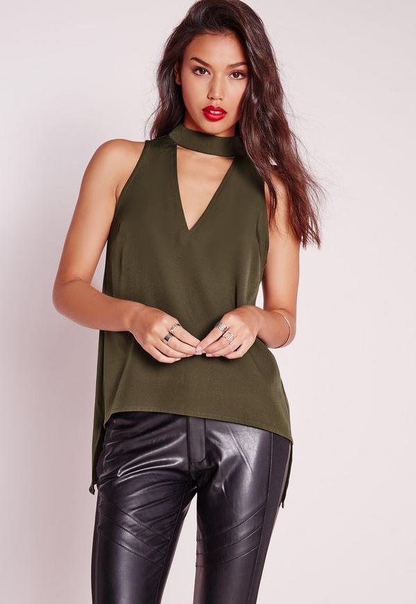 Choker Cut Out Cami Top Khaki