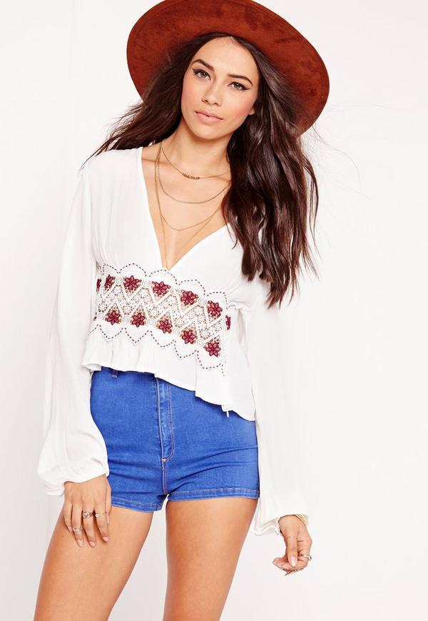 Crochet Insert Cropped Blouse White