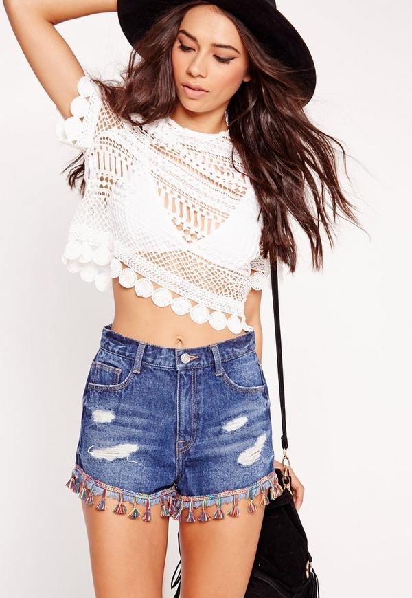 Circle Crochet Crew Neck Crop Top White