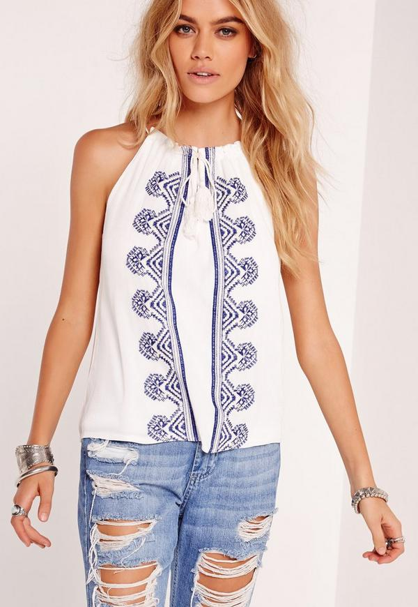 Embroidered High Neck Swing Top White