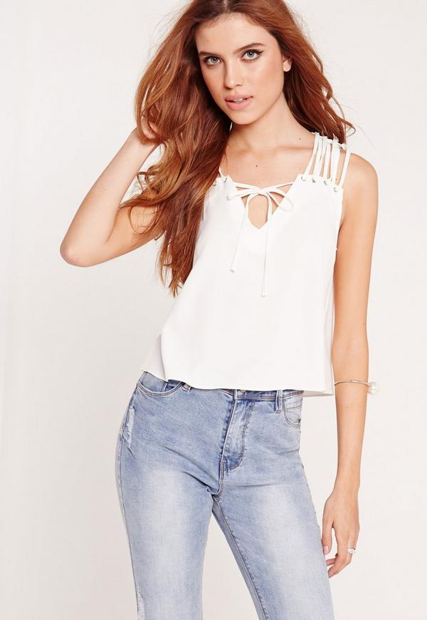 Lattice Shoulder Cropped Blouse White