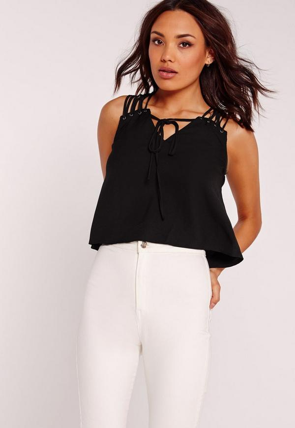 Lattice Shoulder Cropped Blouse Black