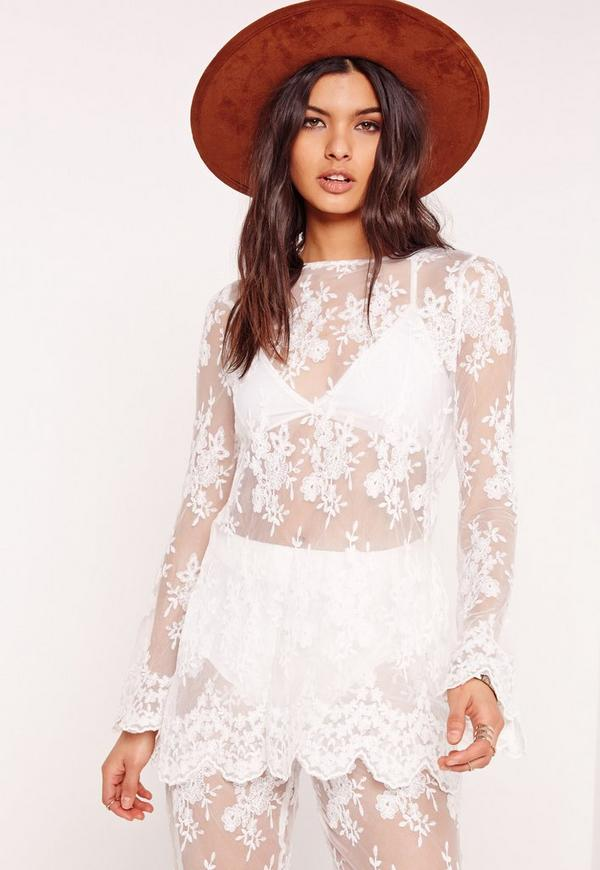 Lace Long Sleeve Sheer Top Co-ord White