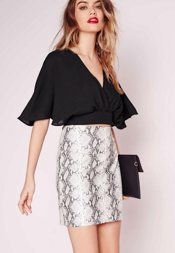 Floaty Tie Back Crop Top Black