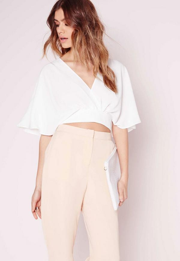 Floaty Tie Back Crop Top White