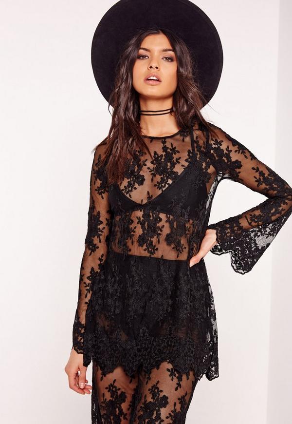 Lace Long Sleeve Sheer Top Black