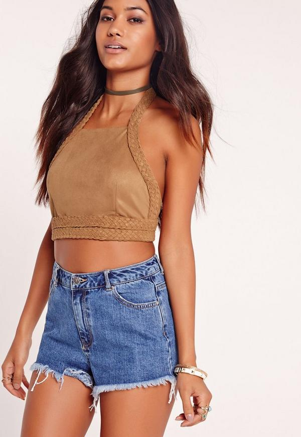 Plaited Trim Halter Crop Top Tan