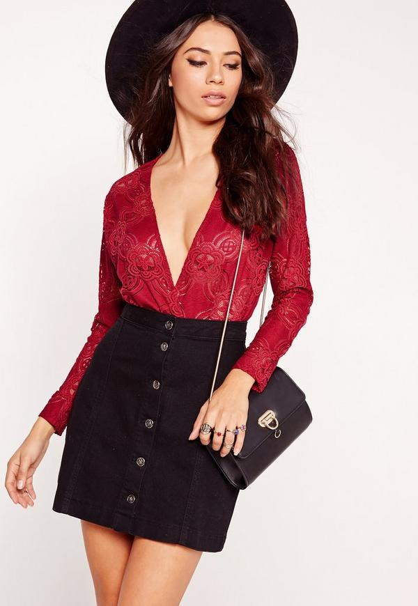 Crochet Lace Bodysuit Red
