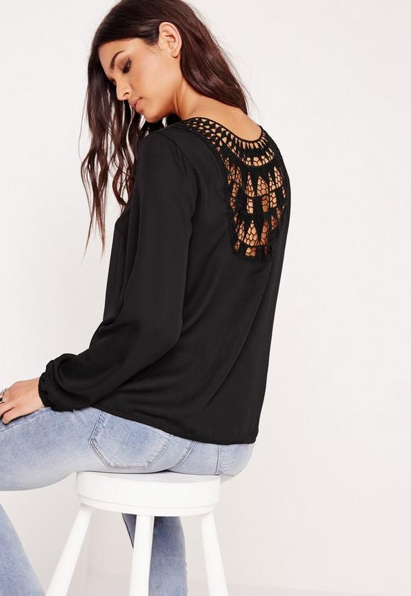 Crochet Back Detail Blouse Black